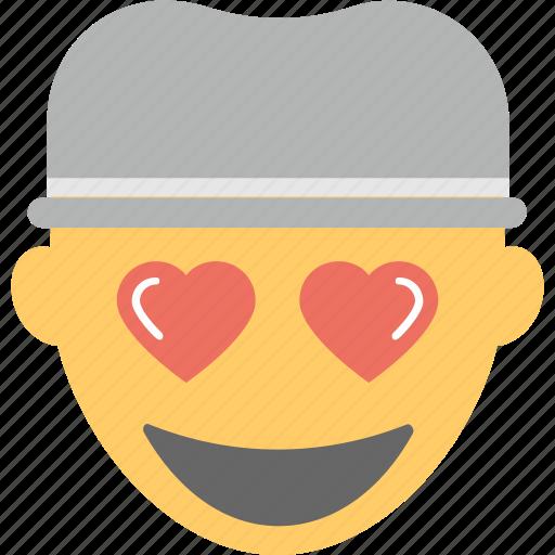 boy emoji, emoticon, happy, hearts, in love icon