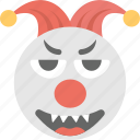 clown, emoji, grinning, jester emoji, joker icon