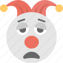 clown emoji, emoji, jester, sad, sad clown icon