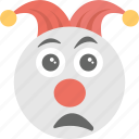 clown emoji, emoji, jester, sad clown, sadness icon