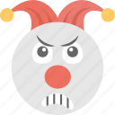 angry, confounded, emoji, emoticon, jester face icon