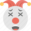 emoji, exhausted, jester emoji, smiley, weary face icon
