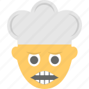 emoticon, grimacing face, emoji, man cook, irritated icon
