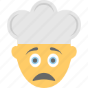chef hat, emoji, emoticon, face, man cook, tired icon