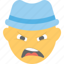angry boy, boy emoji, confounded, emoticon, frowning face icon