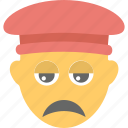 emoji, emoticon, hat, sad, unhappy icon
