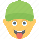 baseball cap, cheeky, laughing, player, tongue out icon
