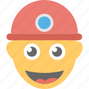construction worker, emoji, laughing, smiley, worker smiling icon