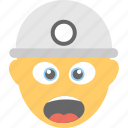 angry, construction worker, emoji, screaming, shouting icon