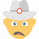 construction worker, depressed, emoji, sad, smiley icon
