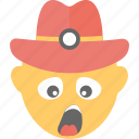 construction worker, emoji, emoticon, sleepy, yawn face icon