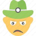 construction worker, disappointed, emoji, sad face, unhappy icon