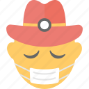 emoji, emoticon, expressions, medical mask emoji, smiley icon