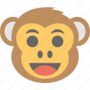 baboon, chimps, happy, monkey emoji, smiley icon