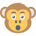 baboon, chimps, monkey emoji, smiley, surprised icon