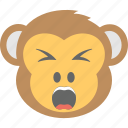 angry, annoyed, monkey emoji, shouting, smiley icon