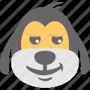 cartoon, dog emoji, dog face, emoticon, happy icon