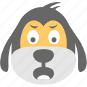 cartoon, dog emoji, dog face, emoticon, surprised icon