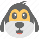 cartoon, dog emoji, dog face, emoticon, happy icon