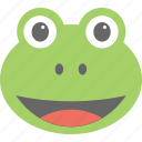 cartoon, emoticon, frog emoji, frog face, smiley icon