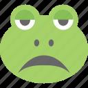 cartoon, emoticon, frog emoji, frog face, smiley icon
