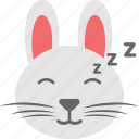 bunny emoji, bunny face, emoji, emoticon, sleepy icon