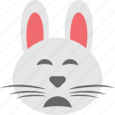 bunny emoji, bunny face, emoji, emoticon, sad icon
