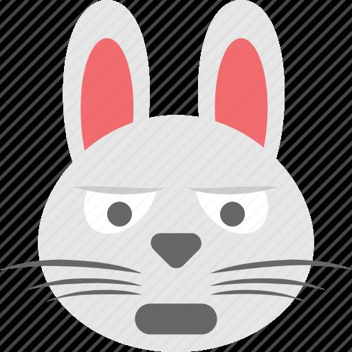 bunny emoji, bunny face, emoji, emoticon, sad icon