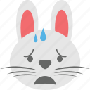 bunny emoji, bunny face, crying, emoji, emoticon icon