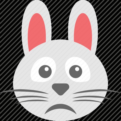 bunny emoji, bunny face, emoji, emoticon, starstruck face icon