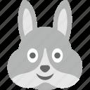bunny emoji, bunny face, emoji, emoticon, smirking icon