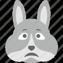 bunny emoji, bunny face, emoji, emoticon, sad