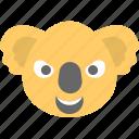 animal, emoticon, koala emoji, koala face, smiley