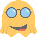 emoji, emoticon, ghost emoji, happy, sunglasses emoji icon
