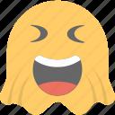 emoji, emoticon, ghost emoji, ghoul, happy icon