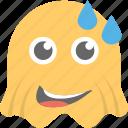 emoji, emoticon, ghost emoji, ghoul, laughing icon