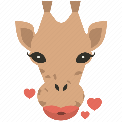chat, giraffe, kiss, love, smiley icon