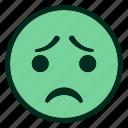 emoji, emoticon, face, filled, green, sad, smiley
