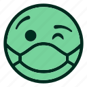 emoji, emoticon, filled, green, mask, smiley, winking