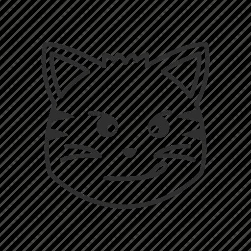 cat, cat face, emoji, emoticon, face, smirking, smirking face icon