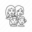 boy, children, family, girl, group, parents, woman icon