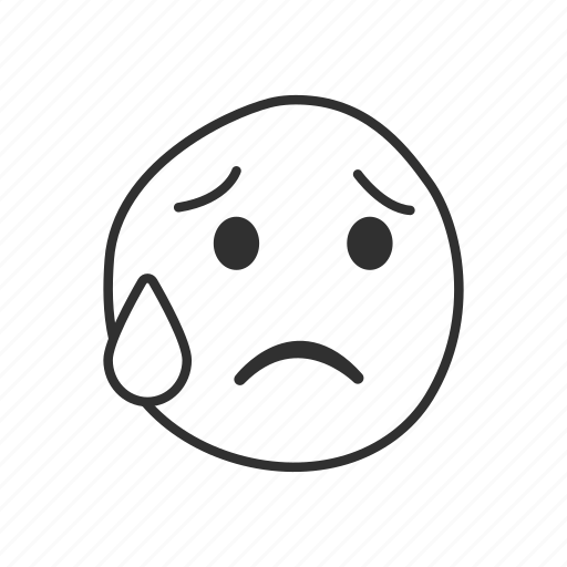 disappointed, emoji, emoticon, sad, sad face, sweat, tears icon