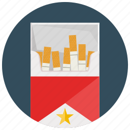 brand, cigarettes, pack, smoking, star icon