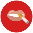 cigarette, lips, smoking icon