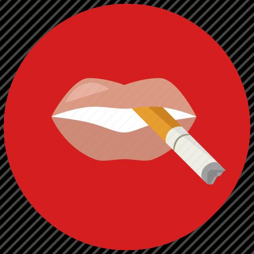 cigarette, lips, smoking icon
