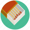 box, matchstick, smoking icon