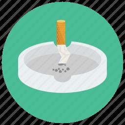 ashtray, cigarette, out, put, smoking icon