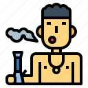 addiction, bong, drug, man, smoking