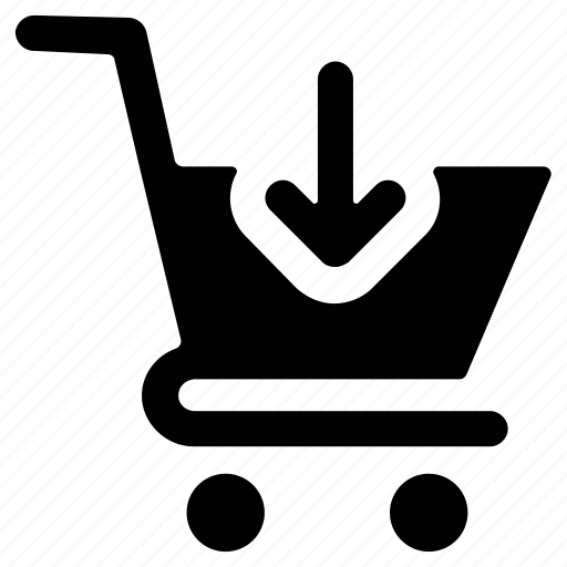 cart, down arrow, ecommerce, shopping, trolley icon