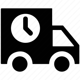 clock sign, delivery, fast, service, van icon